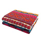 Exclusivo Mezcla Luxury Reversible 100% Cotton Exotic Boho Stripe Quilted Throw Blanket 50x60 Inch Machine Washable and Dryable