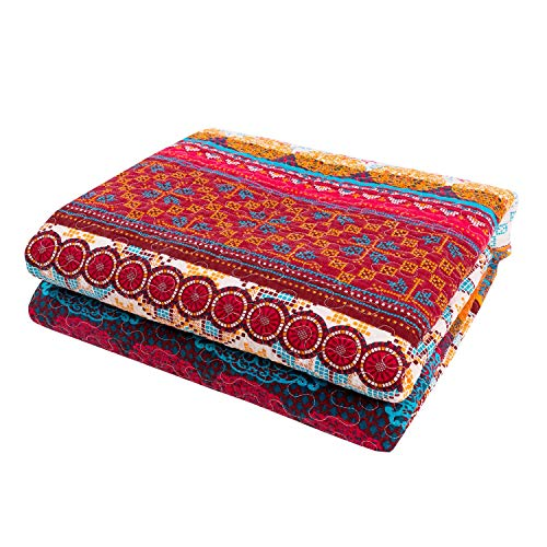 """Luxury Reversible 100% Cotton Exotic Boho Stripe Quilted Throw Blanket 60"""" x 50"""" Machine Washable and Dryable"""