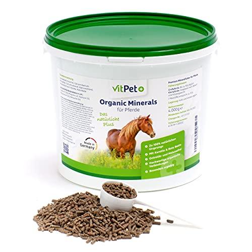 VitPet+ Organic Minerals – Premium Mineralfutter Pferde im 4 kg Eimer inkl. Dosierlöffel – Getreidefrei mit hochwertigen organischen Verbindungen von Zink und Selen
