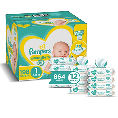 Diapers Newborn/Size 1 (8-14 lb), 198 Count and Baby Wipes - Pampers Swaddlers Disposable Baby Diapers, ONE Month Supply with...