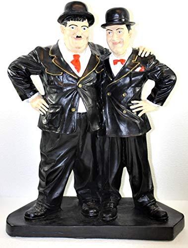 Dekorationsfiguren Gartenfigur Dekofigur Komiker Dick und Doof Freunde H 51 cm stehend auf Sockel Kunstharz