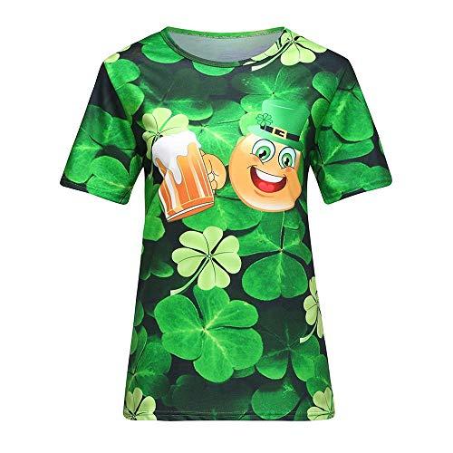 Doublehero Damen 3D Kleeblatt Druck Tshirt Lässige St. Patrick\'s Day Kostüm Kurzarm-Shirt Leprechaun Top Bluse Träger Sweatshirt Frau Irland Shirt Patrick T Shirt