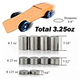 Pinewood Derby Weights Tungsten 3.25oz Total Incremental Cylinders, Optimize for Fastest Derby Car Race Speed, Safe Non-Toxic, No Lead