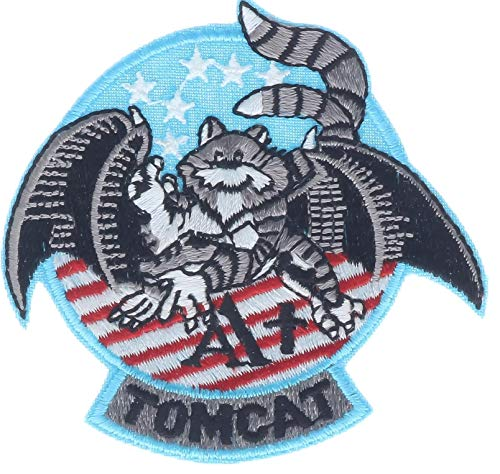 Tomcat Grumman F-14 Aufnäher, rund, bestickt, 7,6 cm, Hellblau