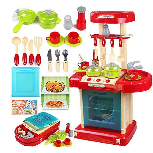 XCXDX Maleta Juguetes De Cocina para Niños, Juguetes Portátiles De Almacenamiento, Accesorios De Colores Brillantes, Iluminación con Sonido De Simulación