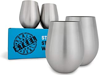 Stainless Steel Wine Glasses: Large 18 Oz Set of 4 Stemless Metal Wine Glass Set - Outdoor Wine Tumbler for the Pool, Camping, Cookouts, Travel - Set of 4 Drinking Cups (Natural)