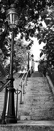 Scenolia Stickers Affiche Autocollante de Porte - Escalier du Sacré Cœur Montmartre 85 x 205 cm - Décoration Murale Poster Adhésif Trompe l'Oeil - Pose Facile et Qualité HD