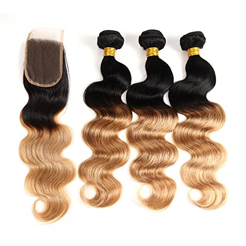 Ombre Brazilian Hair 3 Bundles With Closure, Ombre Human Hair Body Wave 3 pcs With Lace Closure (T1B/27,12 14 16+12)