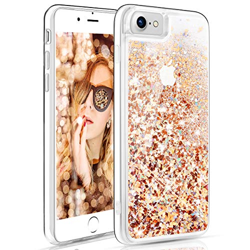 Maxdara Case for iPhone 6 6s 7 8 Glitter Liquid Girls Women Case with Tempered Glass Screen Protector Floating Bling Sparkle Luxury Pretty Protective Case for 6 6s 7 8 4.7 inches (Gold Silver)