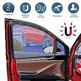KIBTOY Car Side Window Sun Shade - Universal Reversible Magnetic Curtain for Ba
