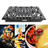 30 Inch Gas Stove Cooktop, 5 Burner Built-in Stove Tempered Glass LPG/NG Gas Cooktop Home Kitchen Hob Cooker with Flameout Protection