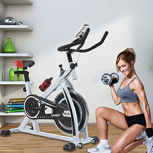 Exercise Bike Recumbent Cycle Bike Trainer Indoor Cycling Bike Stationary with LCD Display and Bottle Holder Static Spin Exercise & Fitness Equipment for Home Office Cardio Workout Bike Training