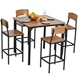 HOMCOM 5 PC Modern Counter Height Dining Set Compact Kitchen Table 4 Chairs Set with Footrest, Metal Legs, Wood