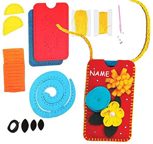 Bastelset - Filz -  Bunte Blumen  - Handytasche / Handyhülle - Smartphone Hülle - incl. Name - viele Größen ! zum Sticken, einfaches Nähen per Hand - Komple..