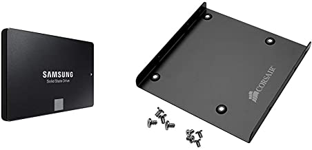Samsung 860 EVO 500GB 2.5 Inch SATA III Internal SSD (MZ-76E500B/AM) & Corsair SSD Mounting Bracket Kit 2.5