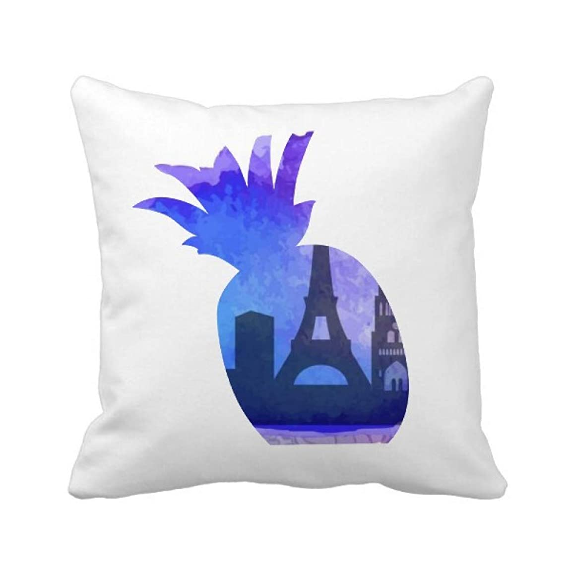 間違いライム些細フランスのエッフェル塔パリ水彩イラストパターンのランドマーク パイナップル枕カバー正方形を投げる 50cm x 50cm