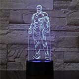 Iron Man Marvel Figura de dibujos animados de acción Lámpara 3D Luz nocturna Bombilla LED Multicolor...