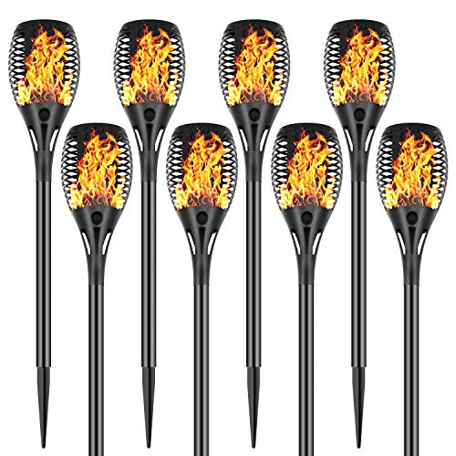 Permande Solar Torch Lights with Flickering Flame, Fire Effect Garden Light, Auto On/off Dust to Dawn, Outdoor Waterproof Landscape Decoration, Solar Powered Spotlights, Security Torch Light for Patio