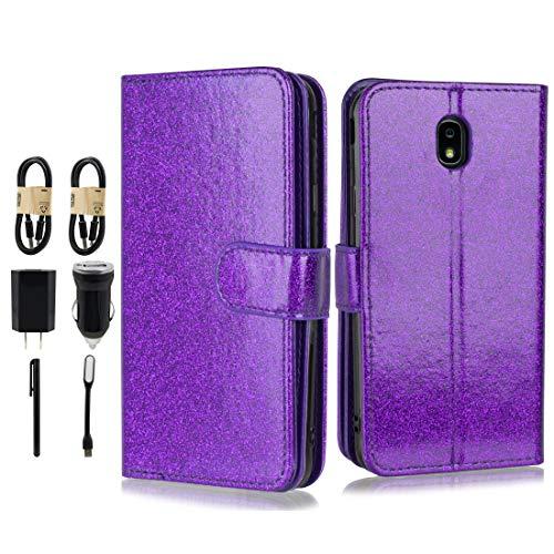 Galaxy J7 Aero/J7 Top/J7 Crown/J7 Aura/J7 Refine/J7 Eon/J7 Star Glitter Case, 6goodeals Women [Detachable] Magnetic Glitter PU Leather Wallet Case Car Mount Samsung J7 2018 [Value Bundle] (Purple)