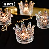Vixdonos Crown Glass Tealight Candle Holder Set of 12 Votive Candle Holders for Wedding, Party and Home Decor(Clear)