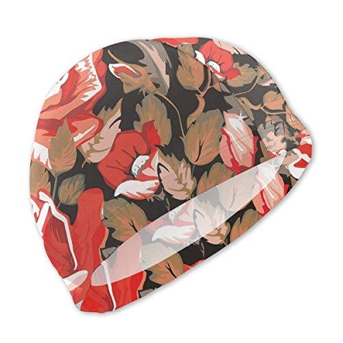 HFHY Floral dans Un Style rétro avec Bonnet de Bain Rose Rouge pour Enfants, Bonnet de Bain en Polyester personnalisé