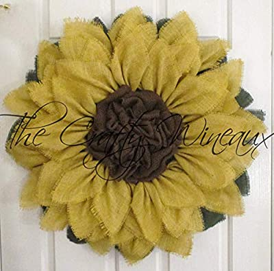 """Extra Large 30"""" Light Yellow Burlap Sunflower Wreath by The Crafty Wineaux?"""