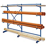BRB Kragarmregal komplett, blau, HxBxT 1950x2090x450 mm, 3 Ständer und 9 Arme mit Abrollsicherung