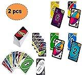 ML Pack de 2 Juegos de Cartas Tradicionales+ Cartas Flip Juego de Mesa para niños y Adultos