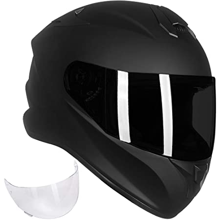 ILM Full Face Motorcycle Street Bike Helmet with Enlarged Air Vents, Free Replacement Visor for Men Women DOT Approved (Matte Black, Large)