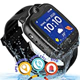Waterproof Kids Smart Watch - Kids GPS Tracker Watch for Boys Girls Smartwatch Phone with Two-Way Call GPS/LBS Double Positioning Fitness Tracker Watch for Kids Gizmo Learning Toy Birthday Gifts