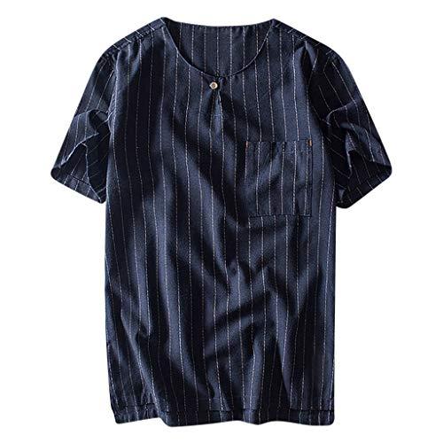 Men Casual Polo-Shirt Linen Shirt Classic Stripe T-Shirt Loose Fit Summer Base Layer Yoga Shirt Beachwear for Men (XL, Navy)