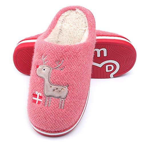 WINZYU Pantofole Donna Uomo Invernali Peluche Morbido Caldo Antiscivolo Renna Regalo Scarpe da Casa, Rosso 38/39 EU