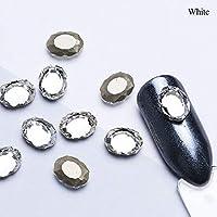 10ピース/ロットホログラフィックミラーネイルラインストーンクリスタルガラス石diyマニキュア宝石ミックスネイルアートポリッシュ装飾スタッドSAR10ホワイト