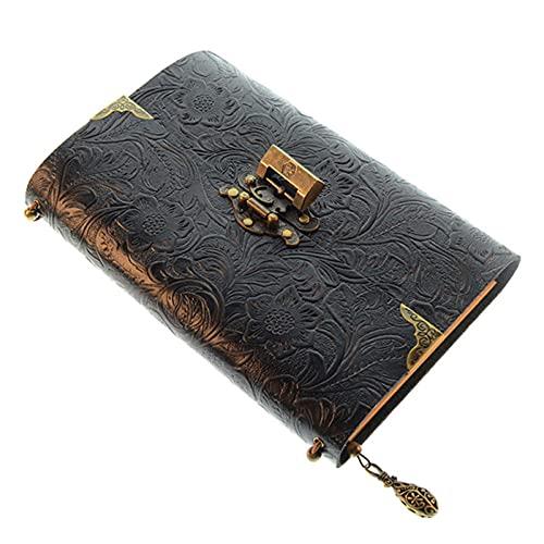 Cuaderno Con Cerradura, Notas De Cuaderno De Hojas Sueltas, Bloc De Notas De Vaca De Primera Capa, Diario Retro Creativo Diario, Conjunto De Diario De Viajes, 200 Mm X 135 Mm -200 PáGinas-negro