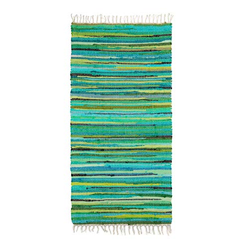 Relaxdays Flickenteppich 70 x 140 cm mit Fransen aus Polyester und Baumwolle, mehrfarbig, Fleckerlteppich, grün