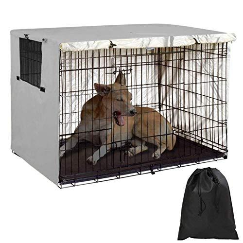 Funda para jaula de perro para cajas de alambre, cubierta para jaula de perro de 60,96 cm, poliéster transpirable resistente al viento, funda para caseta de mascotas + bolsa de almacenamiento (gris)