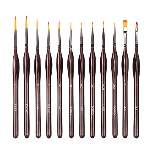 D'Artisan Shoppe Detail Pinsel Set 12 Stück, hochwertige Miniatur Pinsel malten einen feinen Punkt und Frühling, für Aquarell, Öl, Acryl, Nail Art & Modelle