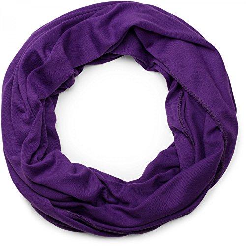 styleBREAKER unifarbener leichter Jersey Loop Schal, Schlauchschal, Tuch, Einfarbig, Unisex 01016115, Farbe:Lila