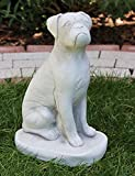 Tierfigur Gartenfigur Deko Figur Boxer H 32 cm Tierskulptur aus Beton Gartendeko Garten Deko Dekofigur Garten Skulptur Hund