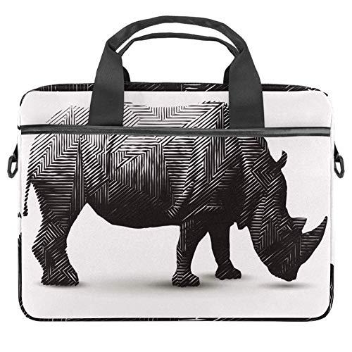 TIZORAX Laptoptasche Rhinoceros Polygon Sharp Line Art Notebook Sleeve mit Griff 15-15,4 Zoll Tragetasche Schultertasche Aktentasche