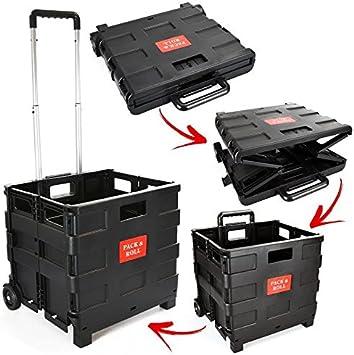 ASAB Carrito de la Compra Plegable de plástico – Carro de Libros Ligero para Profesor – Caja de Almacenamiento Plegable con Ruedas con asa de Aluminio – Negro – 25 kg: Amazon.es: Hogar