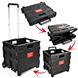 Foldable Plastic Shopping Trolley - Lightweight Teacher's Book Cart - Wheeled Folding Storage Box with Aluminium Handle - Black - 25KG