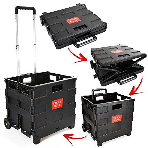 Foldable Plastic Shopping Trolley - Lightweight Teacher's Book Cart - Wheeled Folding Storage Box with Aluminium Handle - Black - 25KG