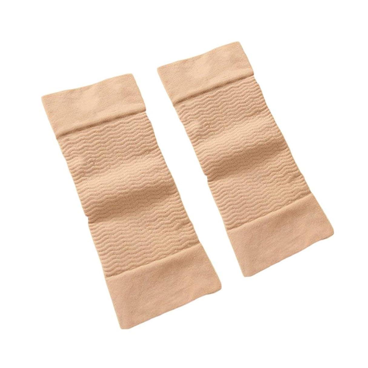 鎖重量なぞらえる1ペア420 D圧縮痩身アームスリーブワークアウトトーニングバーンセルライトシェイパー脂肪燃焼袖用女性 - 肌色