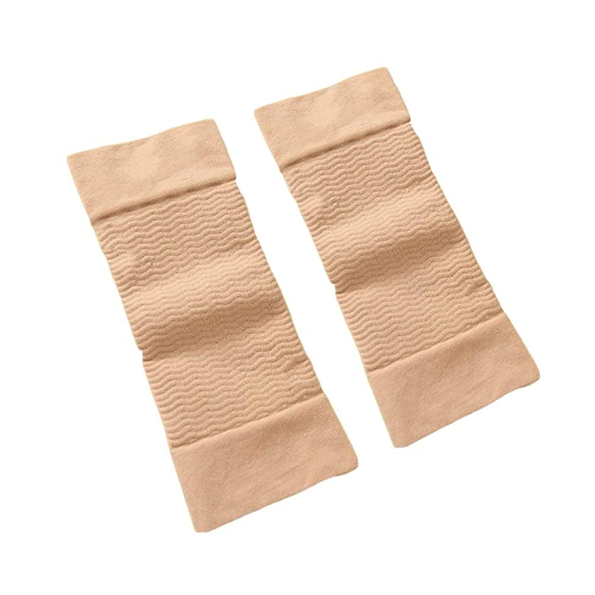 自信がある凍った活性化する1ペア420 D圧縮痩身アームスリーブワークアウトトーニングバーンセルライトシェイパー脂肪燃焼袖用女性 - 肌色