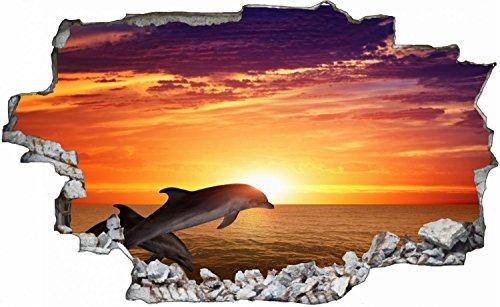 Delfin Delphin Meer Wasser Tier Natur Wandtattoo Wandsticker Wandaufkleber C0145 Größe 100 cm x 150 cm