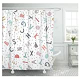 Duschvorhang Waschbar Buntes Alphabet Kindermuster Doodle ABC Duschvorhang Polyester Textil Schnelltrocknend Atmungsaktiv