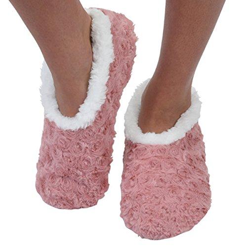 Snoozies Womens Slipper Socks   Comfy Soft Sherpa Fleece Slippers   Womens House Slippers   Rose Hearts   Medium   Blush