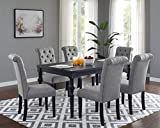 Roundhill Furniture Leviton Urban Style Counter Height Dining Set: Table and 6 Chairs, Grey