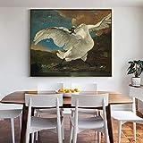 wZUN La Famosa Pintura El Cisne amenazado, póster y Pintura Mural Impresa en Lienzo, Utilizada para la decoración del hogar 40x50cm